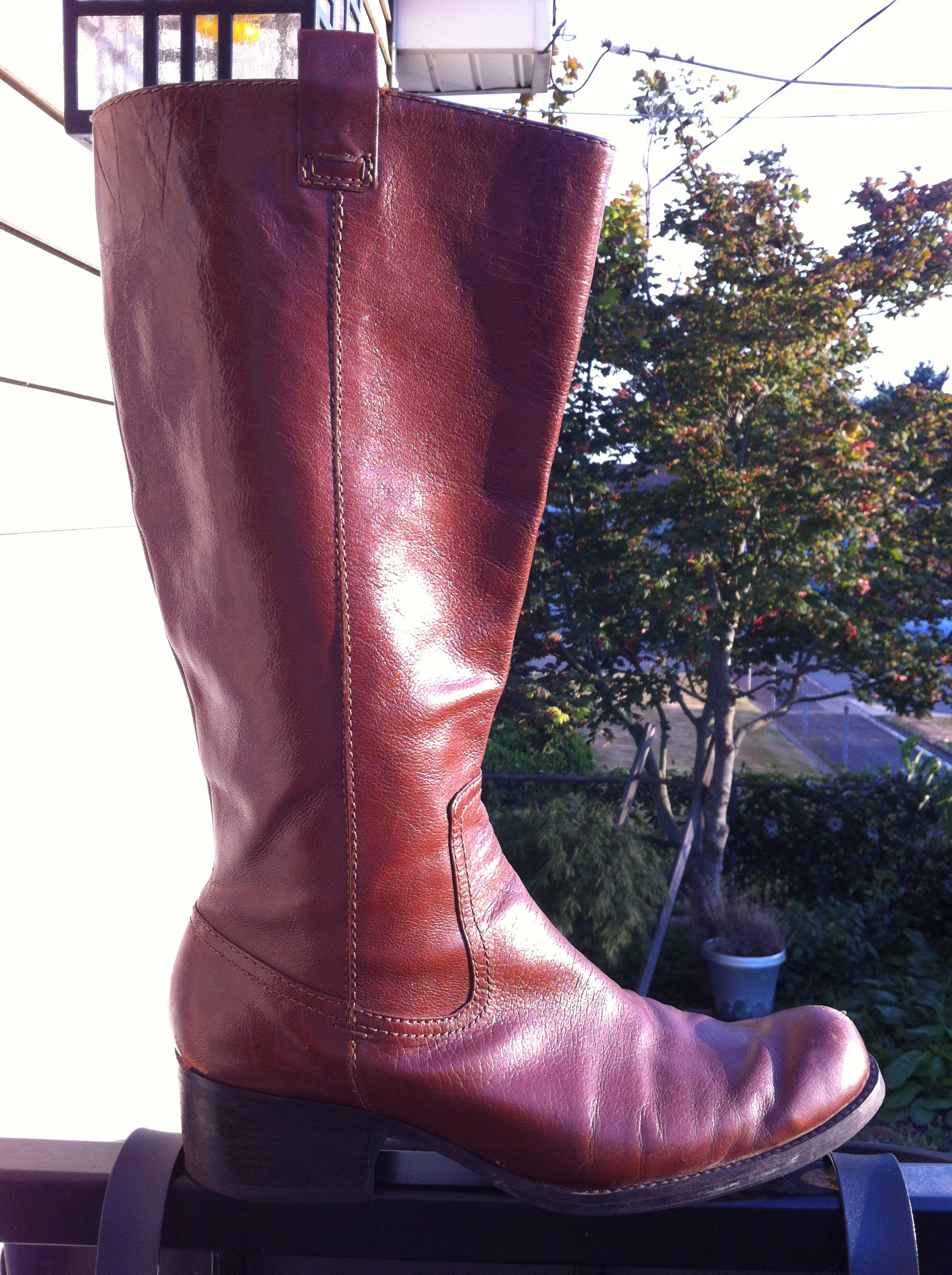 1ee732d482c4 I think you d call them cognac. Sloped across the top. Fitted in ankles.  1.5″ heel.  1 Audrey Brooke Tayler Riding Boot  129.95